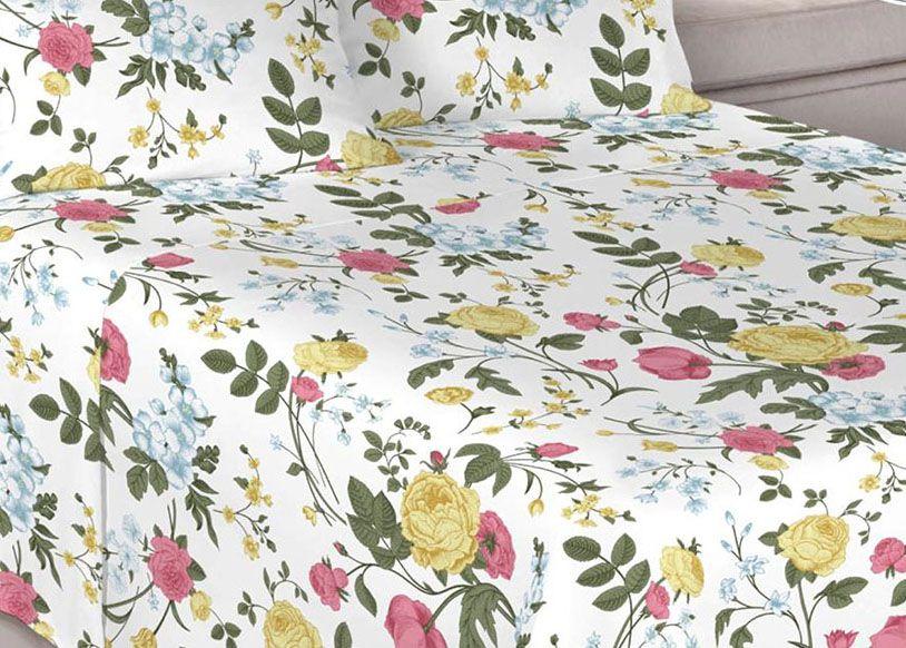Jogo de cama de casal Percal 200 fios 100% algodão estampado - Amarelo 7410