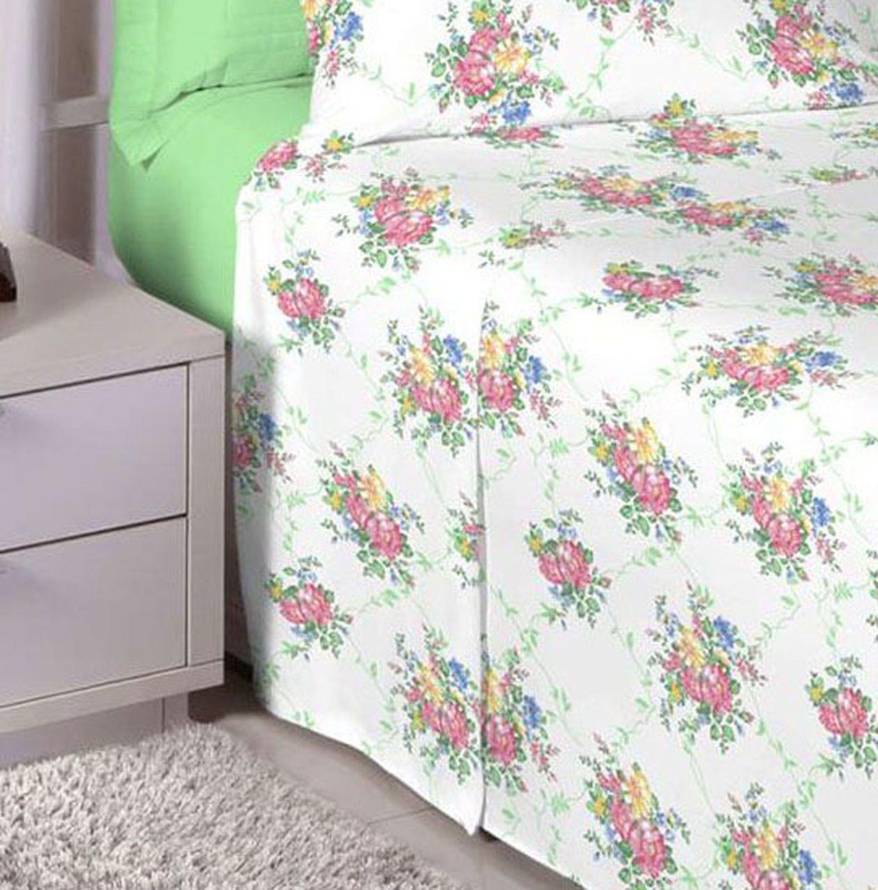 Jogo de cama de casal Percal 200 fios - 100% algodão Premium Linea - Verde Limão