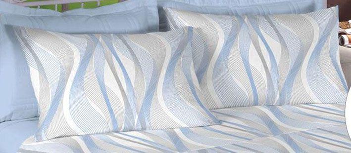 Jogo de cama de King Size Percal 200 fios 100% algodão estampado  Azul Anil