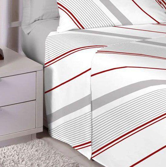 Jogo de cama de Queen Size Percal 180 fios 100% algodão Premium Linea estampado Cinza com Listras 7265-1