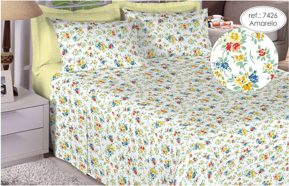 Jogo de cama King Size Percal 150 fios 100% algodão estampado Amarelo Florido 7426