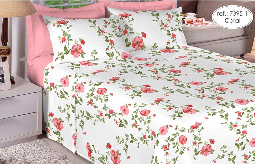 Jogo de cama king size 180 fios 100% algodão estampado coral com flores rosas  - 7395-1