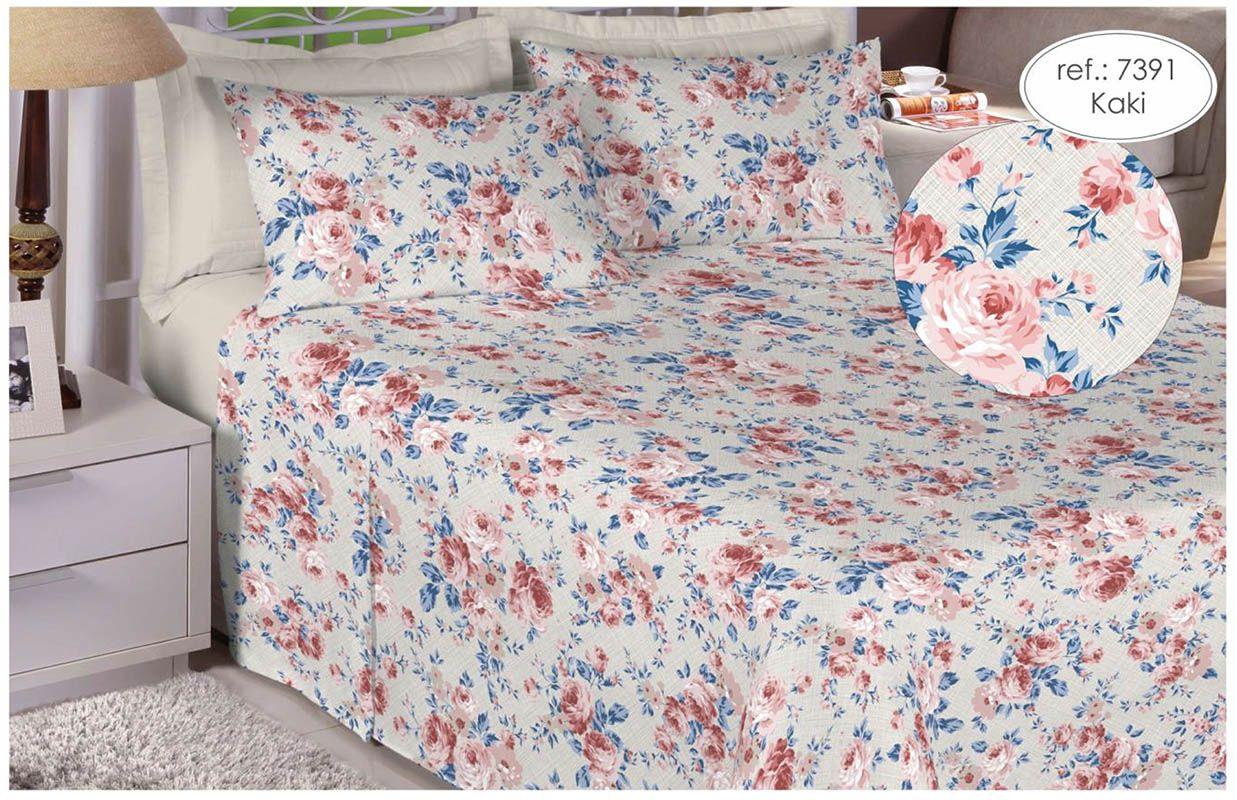 Jogo de cama king size 150 fios 100% algodão estampado Kaki Floral