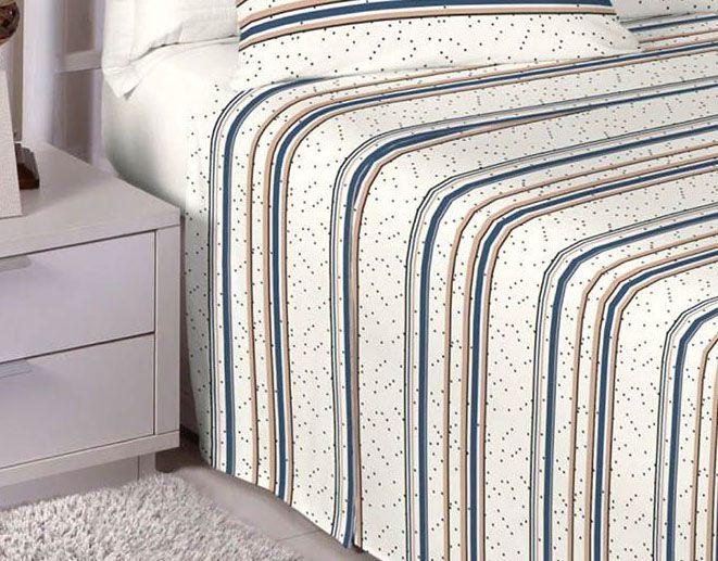 Jogo de cama king size Percal 180 fios 100% algodão Premium Linea estampado Pérola Poá 7439
