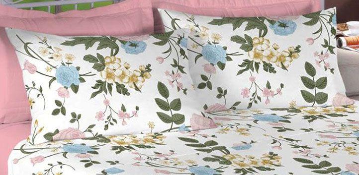 Jogo de cama king size Percal 200 fios - 100% algodão Premium - Coral 7410-1