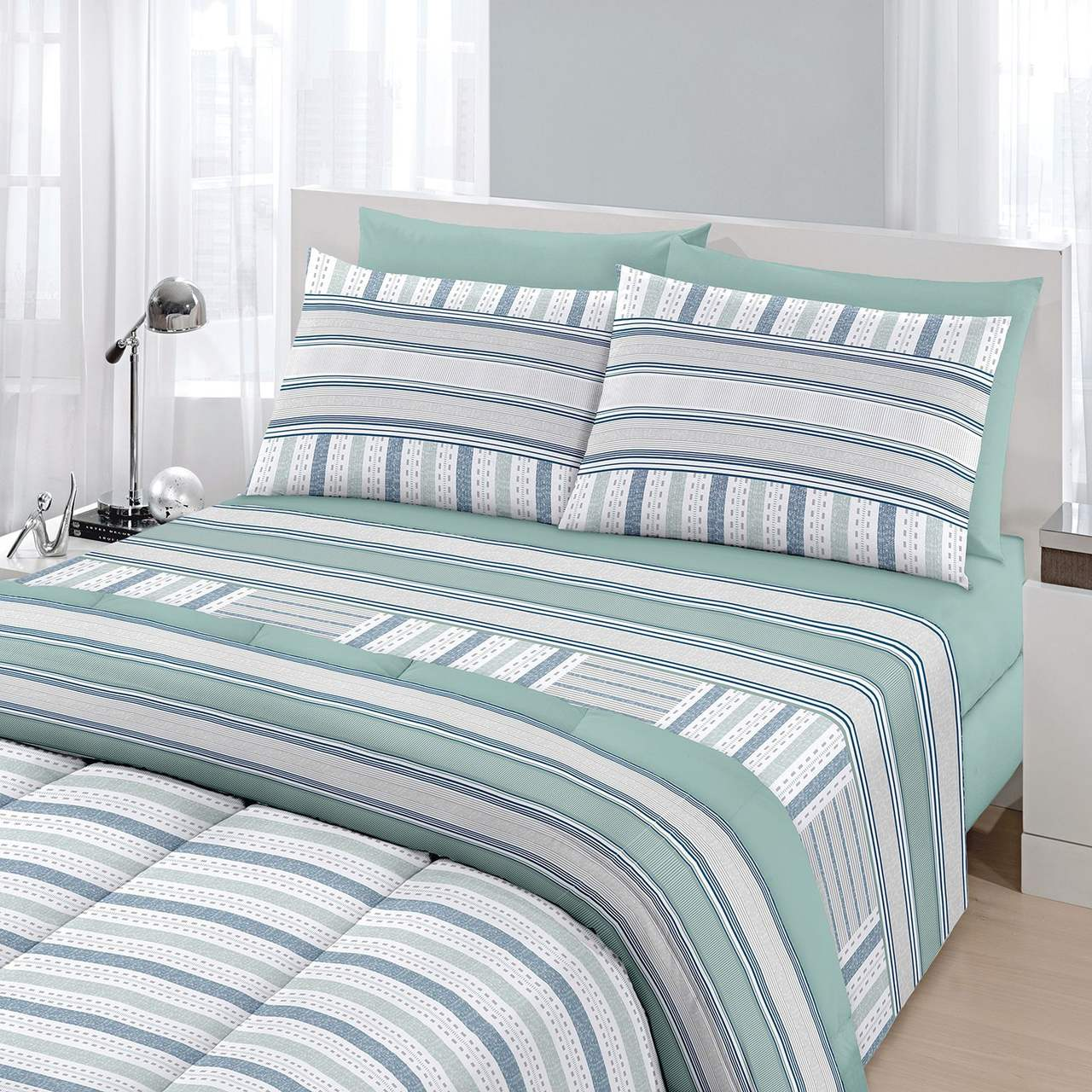 jogo de cama king Royal Boston 1 100% algodão estampado verde - Santista