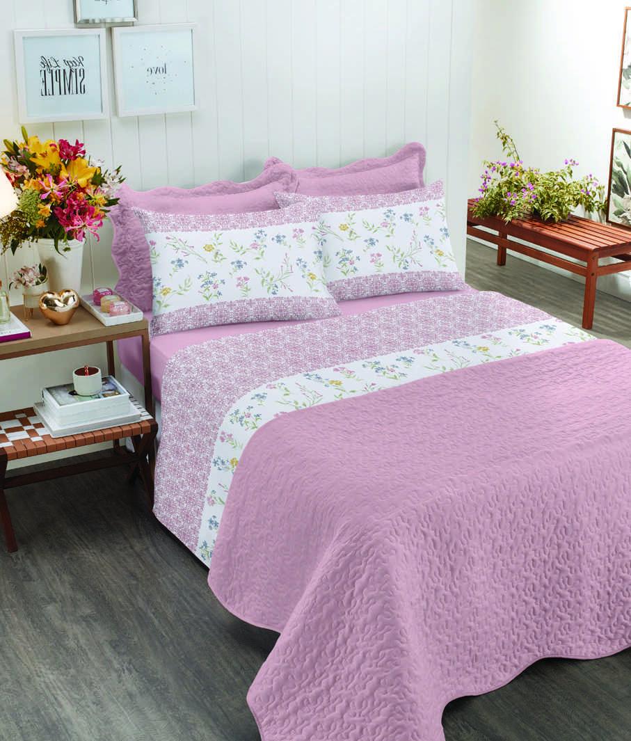 Jogo de cama king size Royal Nayla 100% algodão estampado Rosa - Santista