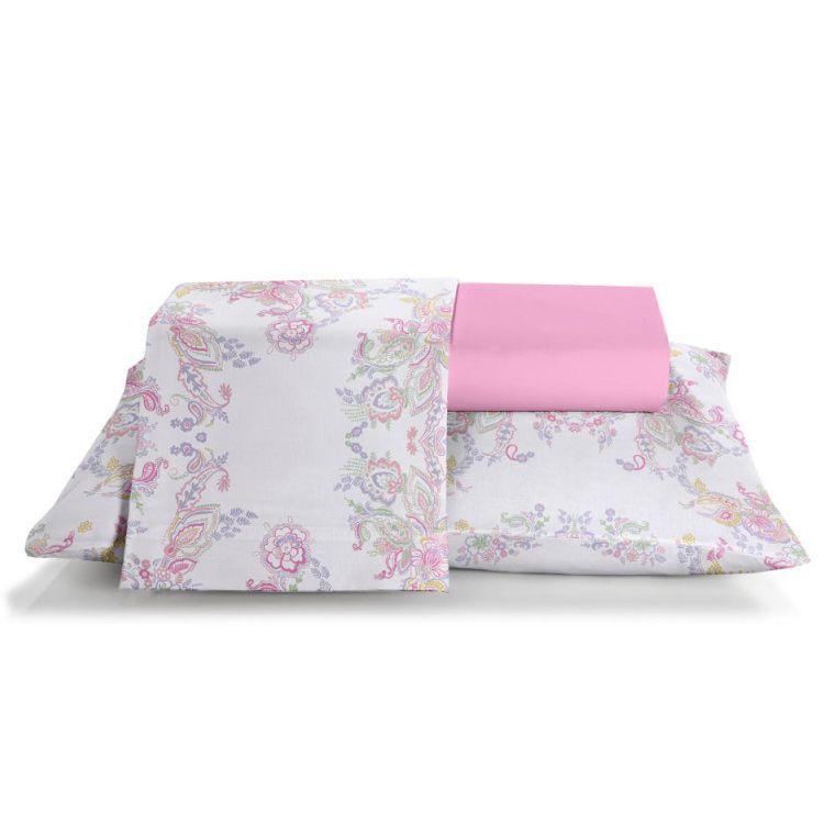Jogo de cama king Prata Susana 150 fios 100% algodão estampado rosa - Santista