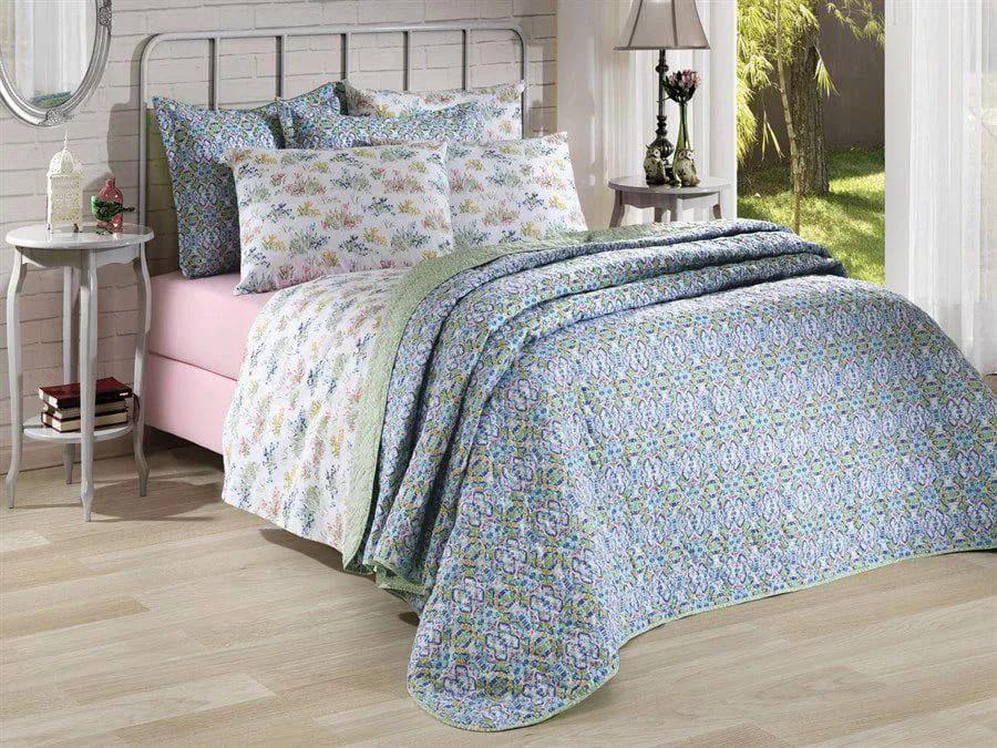 Jogo de cama queen Prata 150 Fios 100% algodão Angela 2 estampado rosa floral - Santista