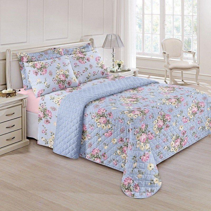 Jogo de cama Queen Prata 150 Fios 100% algodão Jully estampado Lilás floral - Santista