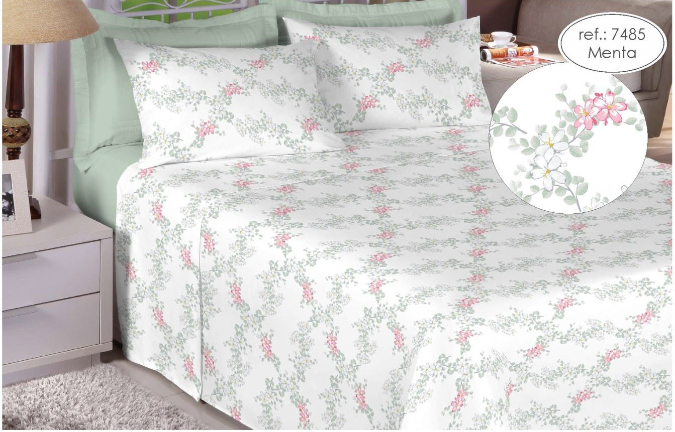 Jogo de cama queen Premium 200 fios 100% algodão 7485 Menta