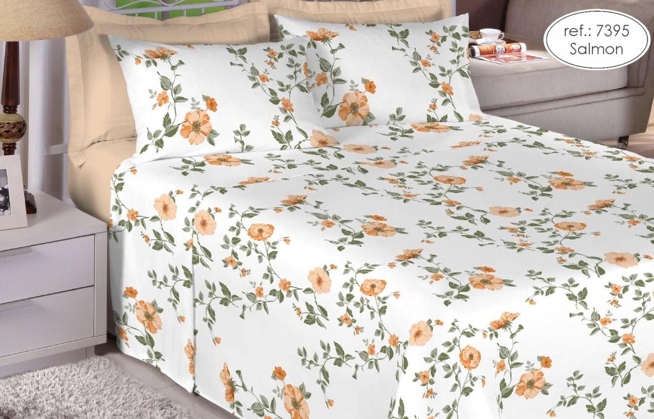 Jogo de cama queen Premium Linea 180 fios 100% algodão 7395 Salmão