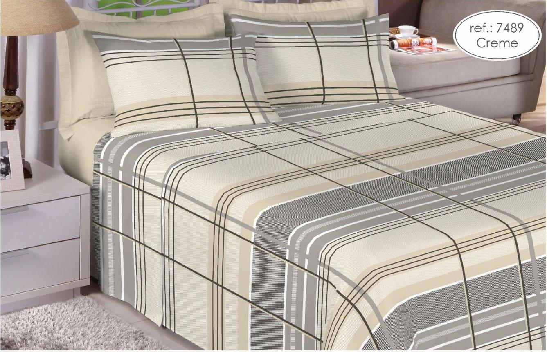 Jogo de cama queen Premium Linea 180 fios 100% algodão 7489 Creme
