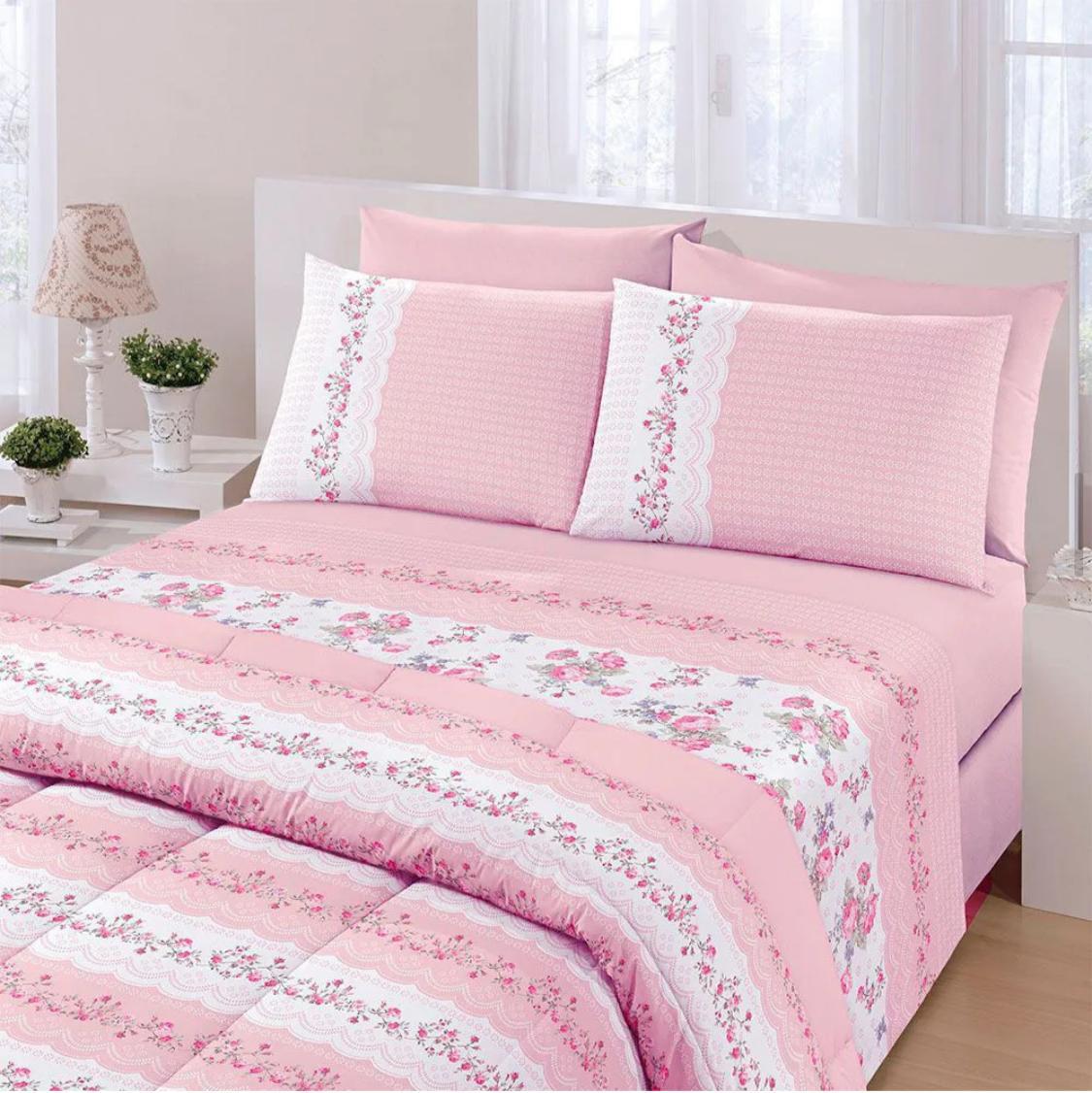 Jogo de cama queen Royal Maite 100% algodão estampado rosa - Santista