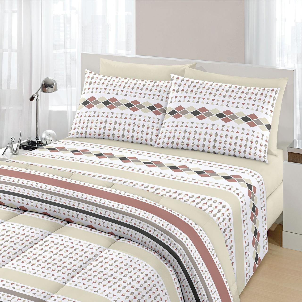 Jogo de cama queen Royal Nando 1 100% algodão estampado bege - Santista