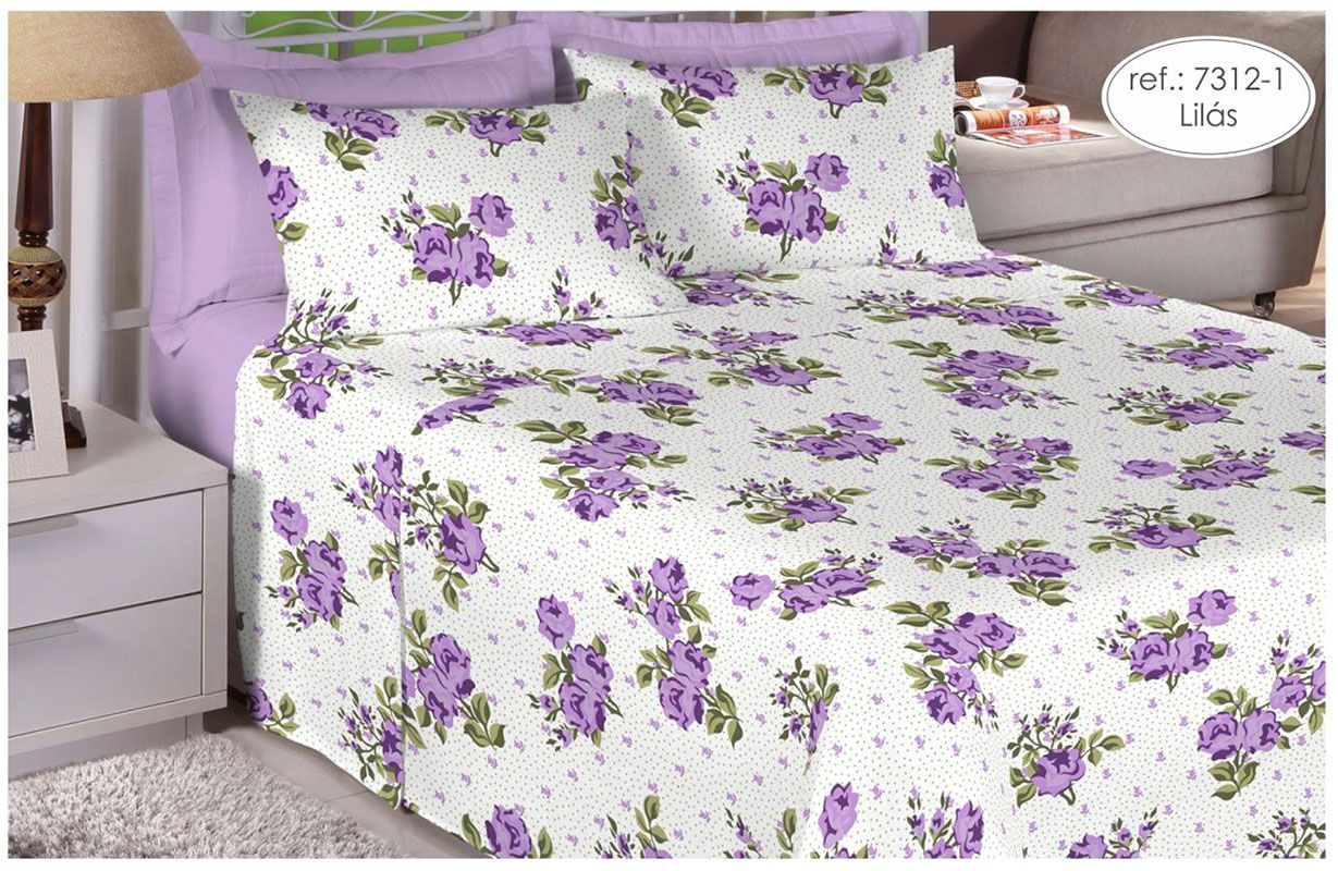 Jogo de cama queen size - 100% algodão Premium Plus - Lilás 7312-1