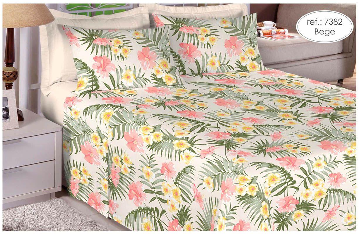 Jogo de cama queen size 150 fios 100% algodão estampado - Bege 7382