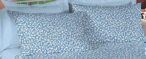 Jogo de cama Queen Size 180 fios 100% algodão estampado Azul Anil 7437