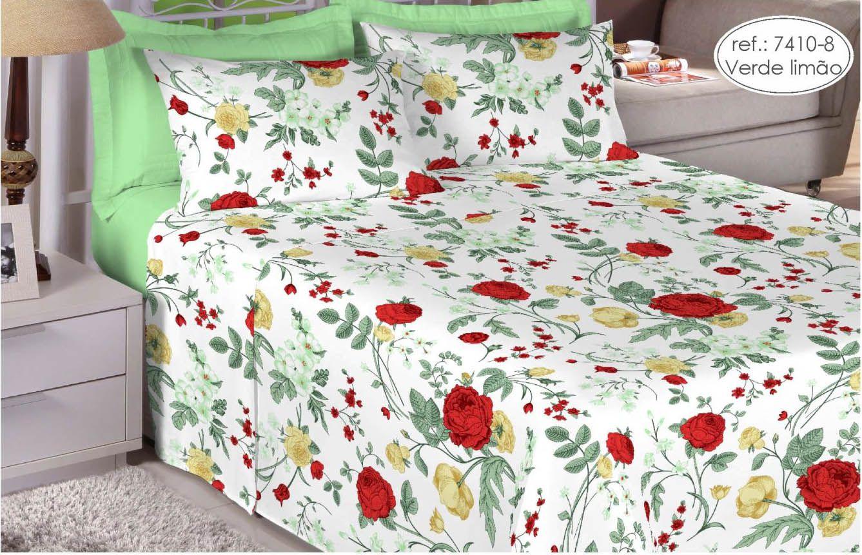Jogo de cama queen size 200 fios 100% algodão - estampado verde limão 7410-8