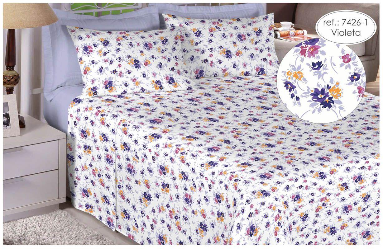 Jogo de cama queen size 150 fios 100% algodão estampado violeta floral