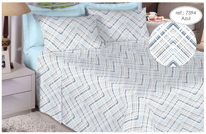 Jogo de cama Queen Size 180 fios 100% algodão Premium Linea estampado - Azul 7394