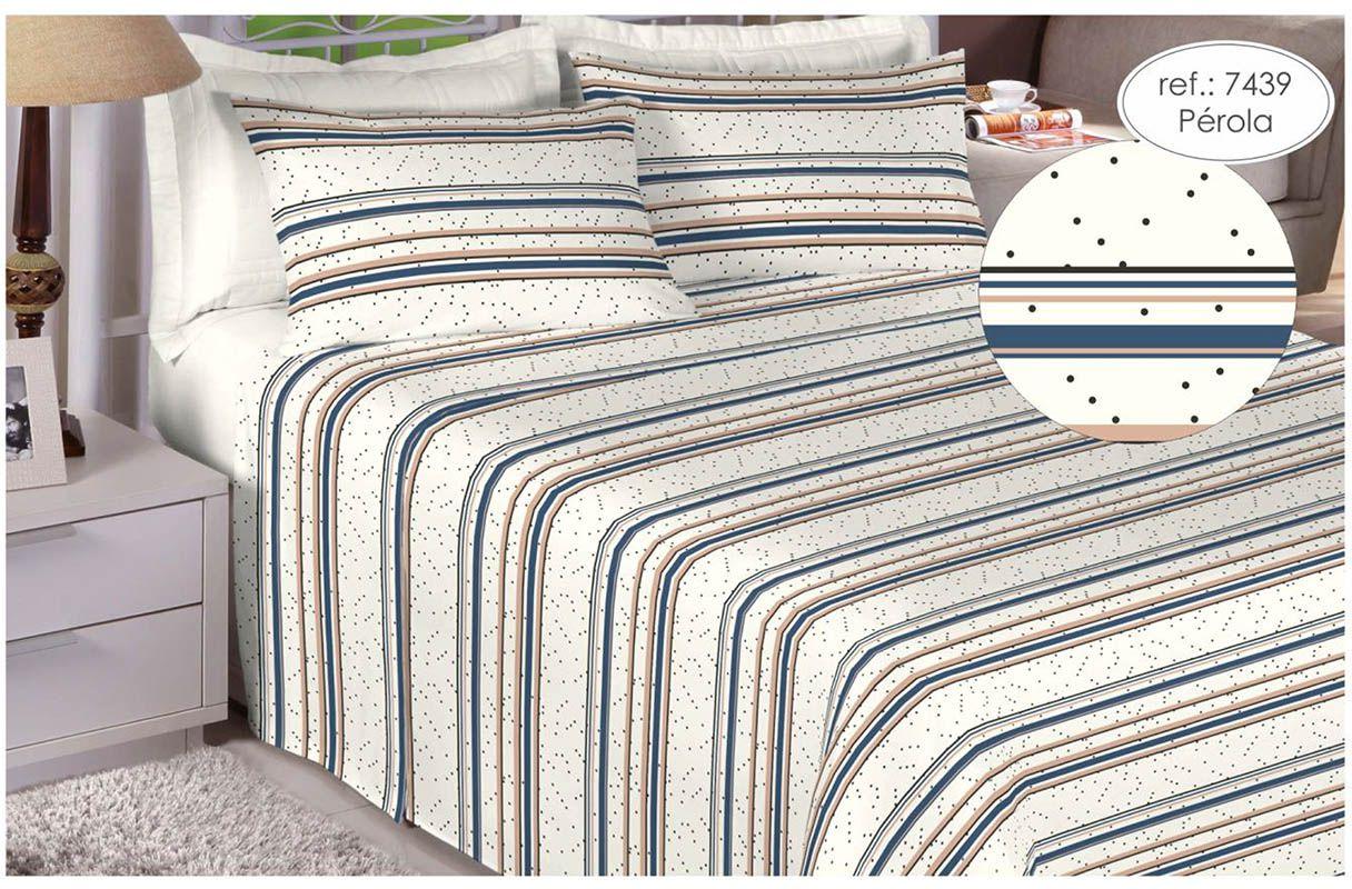 Jogo de cama queen size Percal 180 fios 100% algodão estampado pérola poá 7439