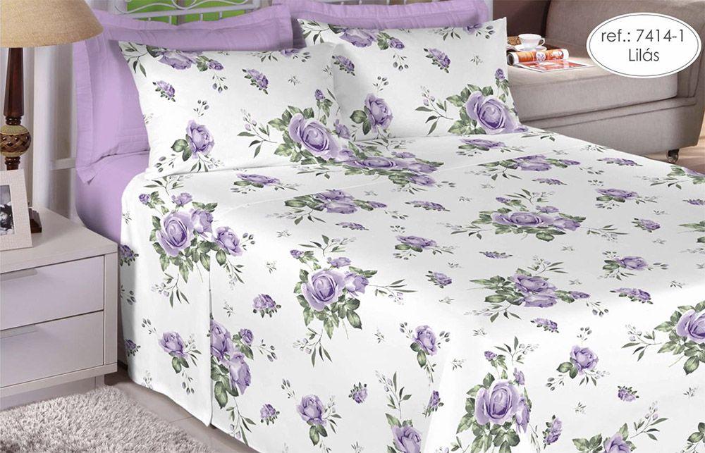 Jogo de cama Queen Size Percal 200 fios 100% algodão estampado Lilás com Rosas