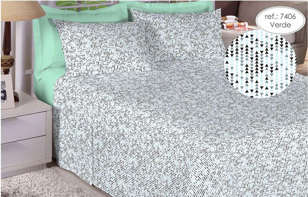 Jogo de cama Queen Size Percal 200 fios 100% algodão estampado Verde Geométrico