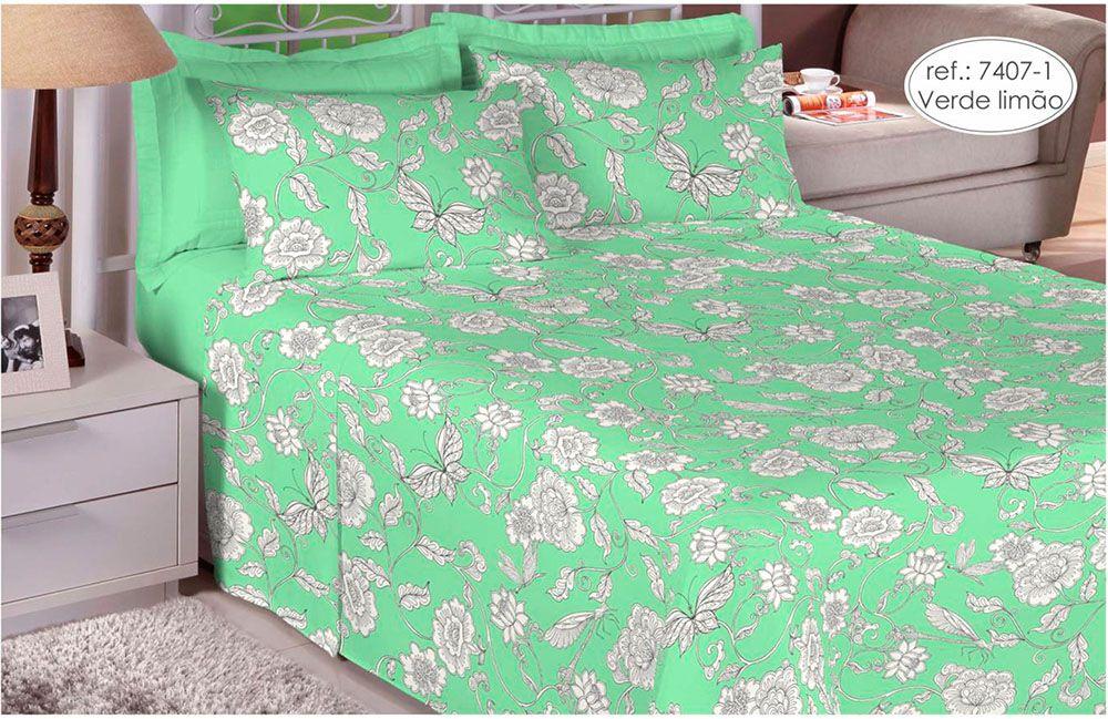 Jogo de cama Queen Size Percal 200 Fios 100% algodão estampado Verde Limão Florido 7407-1