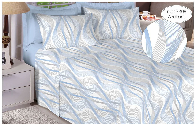Jogo de cama de Queen Size Percal 200 fios 100% algodão estampado  Azul Anil