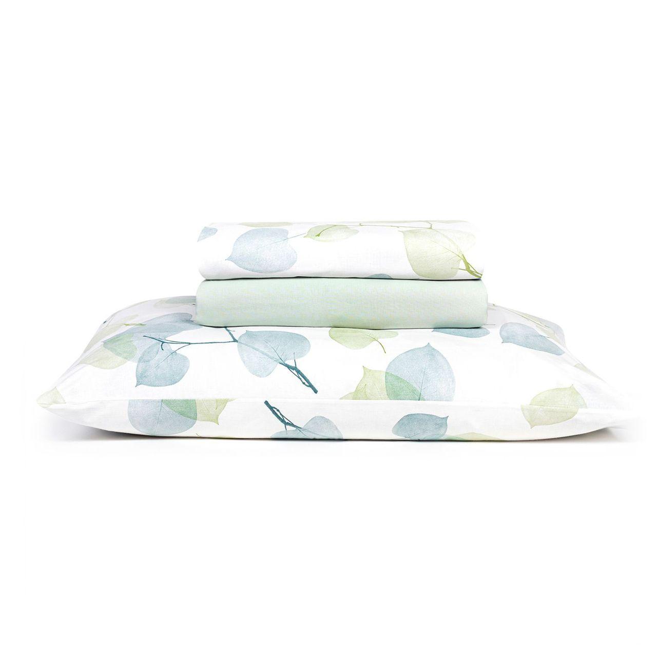 Jogo de cama queen Prata 150 fios 100% algodão Foret estampado verde - Santista