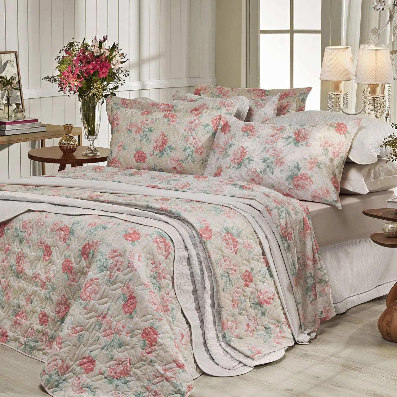 Jogo de cama queen Prata 150 Fios 100% algodão Giulia estampado Salmão - Santista