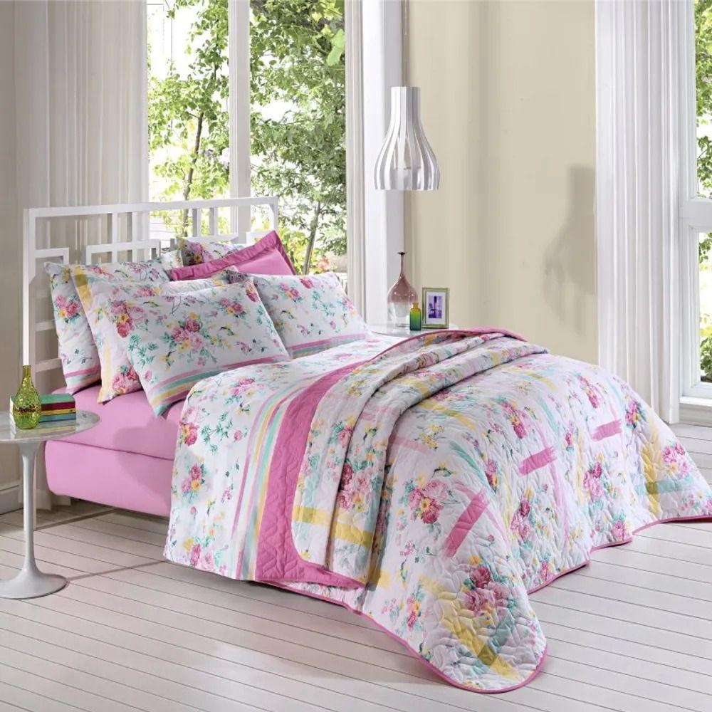 Jogo de cama queen Prata 150 Fios 100% Algodão Stella estampado floral com listras - Santista
