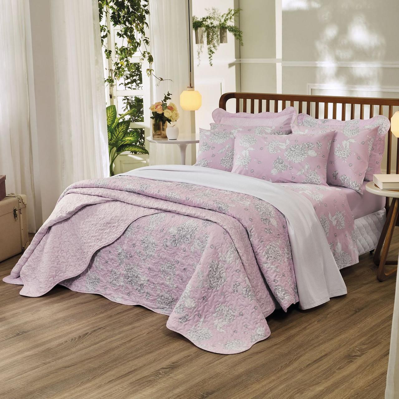 Jogo de cama queen Prata 150 fios 100% algodão Verônica estampado rosa - Santista