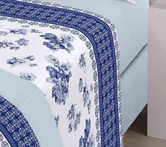 Jogo de cama queen size Royal Beth 1 100% algodão estampado Floral Azul - Santista