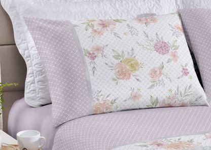 Jogo de cama queen Royal Heloisa 1 100% algodão estampado Poá e Floral - Santista