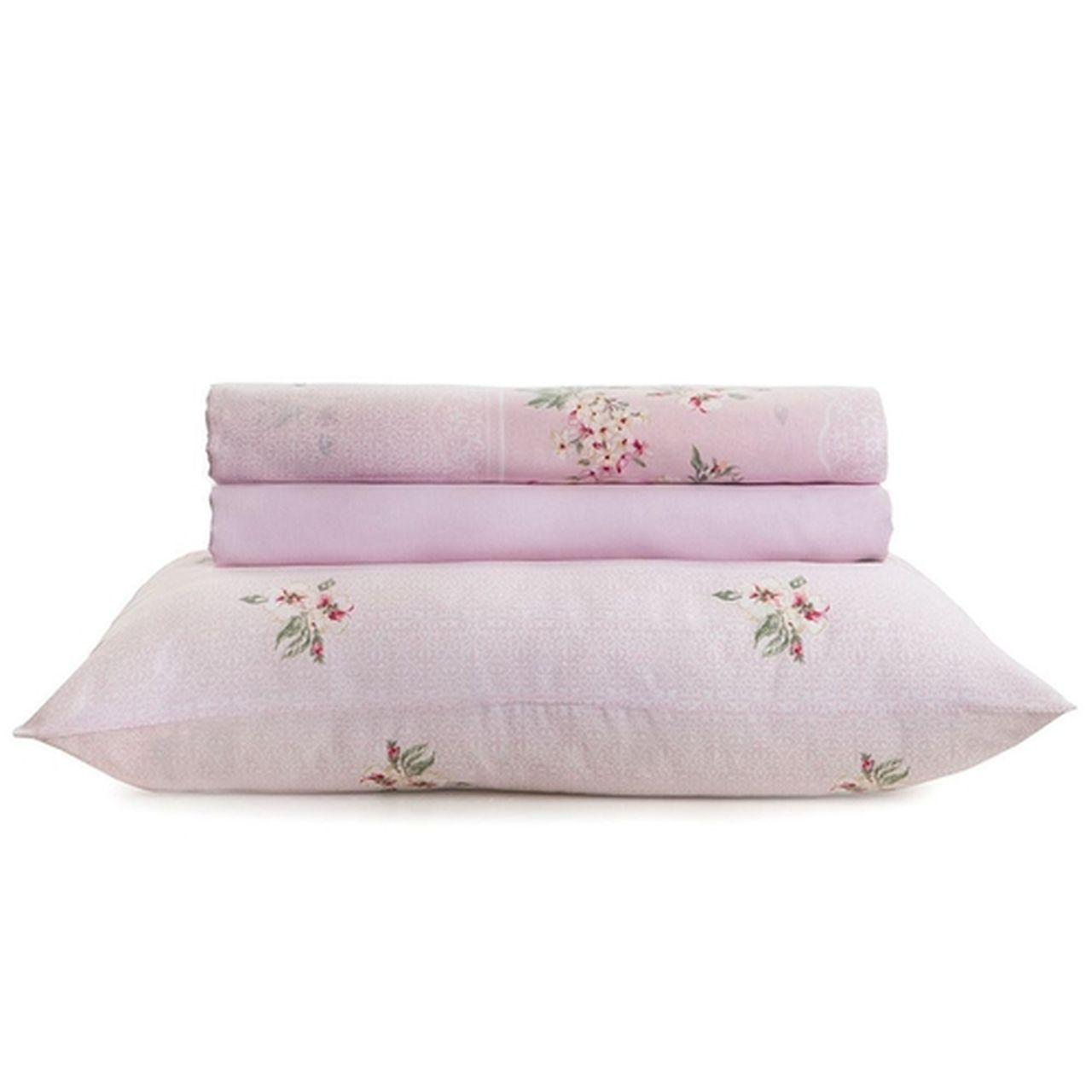Jogo de cama queen Royal Luara Rosa 100% algodão estampado - Santista