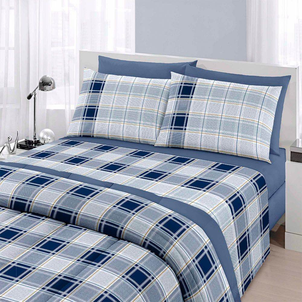 Jogo de cama queen size Royal Matias 1 100% algodão estampado Xadrez - Santista