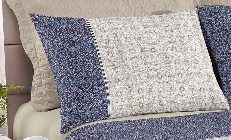 Jogo de cama queen size Royal Milão 100% algodão estampado Floral Indiano - Santista