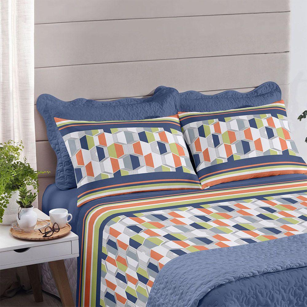 Jogo de cama queen size Royal Miller 100% algodão estampado Azul - Santista