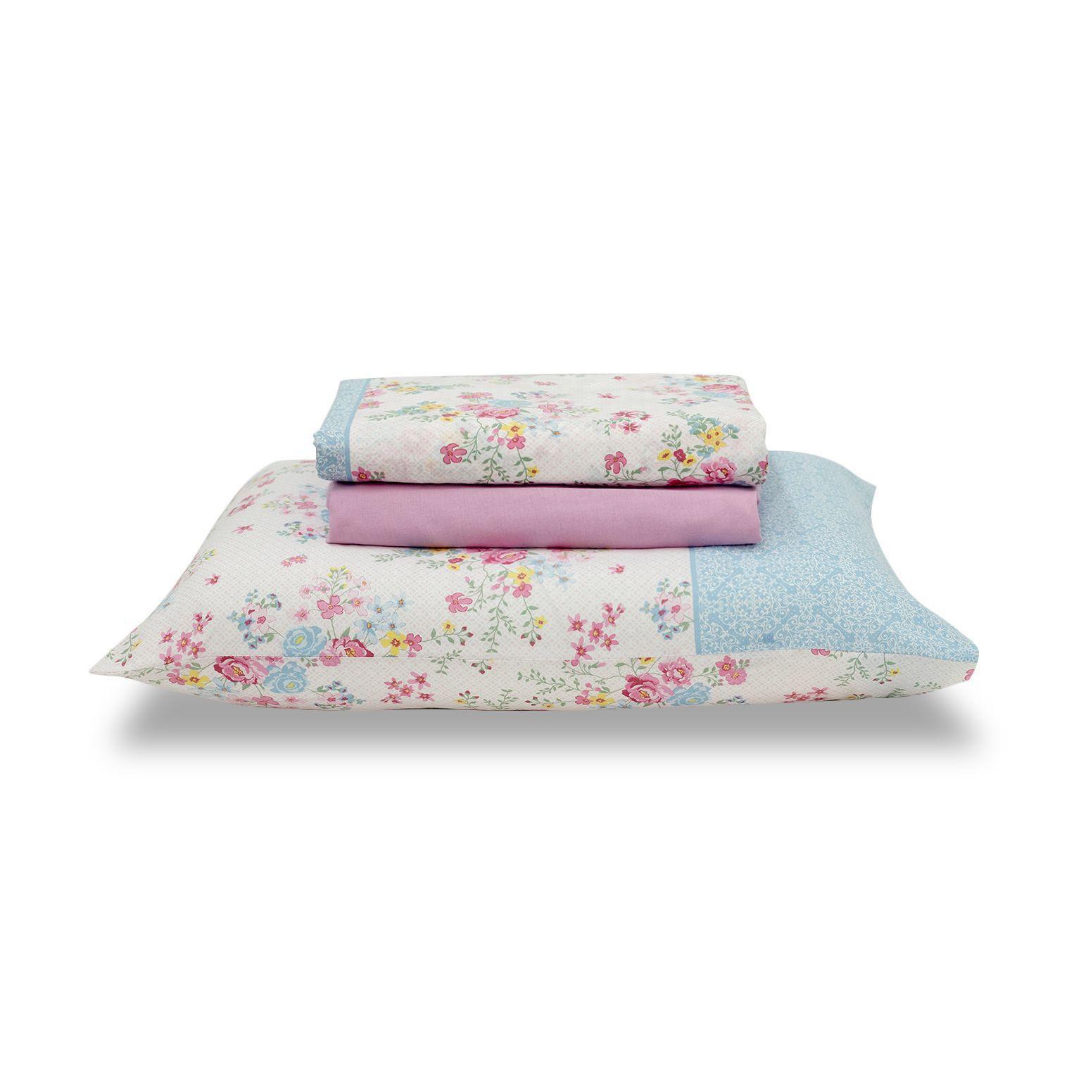 Jogo de cama queen size Royal Wendy 1 100% algodão estampado Floral - Santista