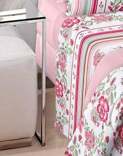 Jogo de cama queen Royal Yara 100% algodão estampado rosa florido - Santista