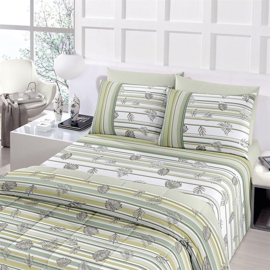 Jogo de cama queen size Royal Yure 1 100% algodão estampado Verde com Folhas - Santista