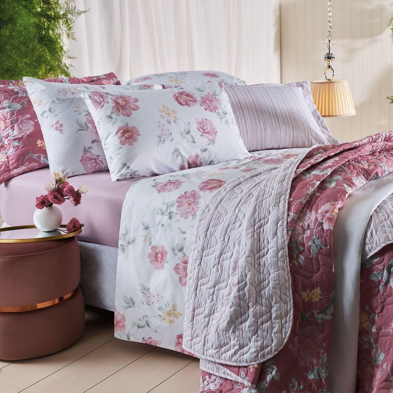 Jogo de cama queen unique 180 fios 100% algodão Liah estampado rosa - Santista
