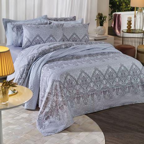 Jogo de cama queen unique 180 fios 100% algodão Donatella estampado azul - Santista