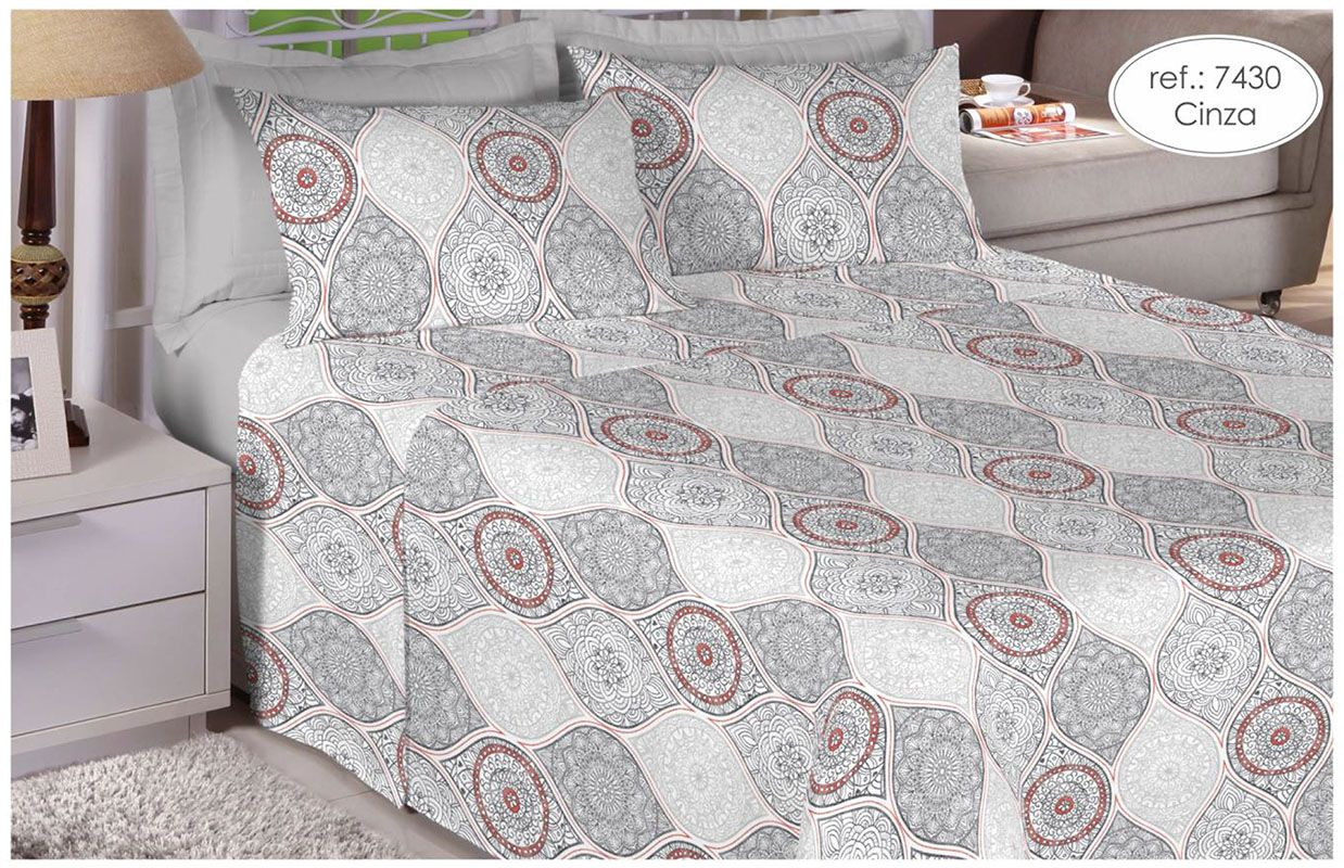 Jogo de cama solteiro 100% algodão Premium Plus estampado Cinza com Mandalas 7430