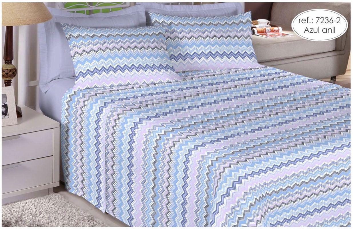Jogo de cama de solteiro - 100% algodão Premium Plus - Azul Anil 7236-2