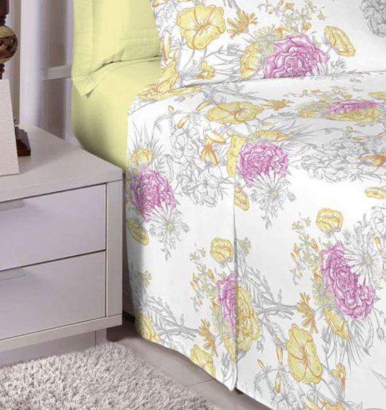 Jogo de cama solteiro 100% algodão Premium Plus estampado Amarelo com Flores Rosas 7428-1