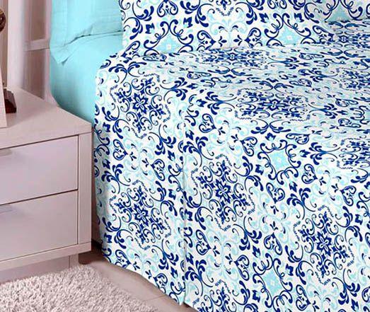 Jogo de cama solteiro 100% algodão Premium Plus estampado Azul 7294-1