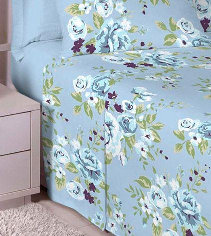 Jogo de cama solteiro 100% algodão Premium Plus estampado Azul Anil com Rosas azuis 7316-2